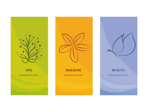 Branding Packaging -spa - beauty - holistic -  whit flower and butterfly on orange violet ang green background