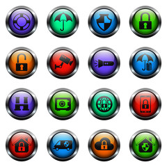security vector icons on color glass buttons