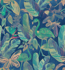 vintage Seamless pattern with tropical leaves and pink flamingos. Tropical kraft  background