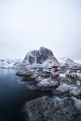 Stunning view of Hamnoy Village with sunrise time one of the most beautiful scene in Lofoten Norway / Landscape photography