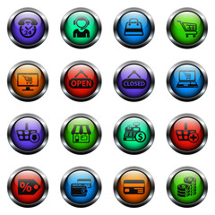 shopping vector icons on color glass buttons