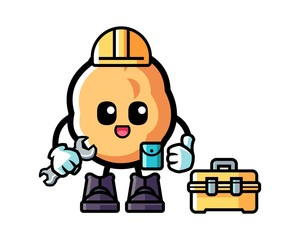 Walnut handyman mascot cartoon illustration