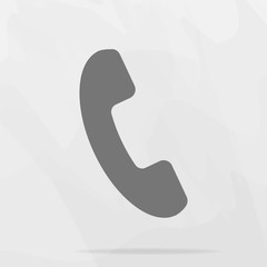 Phone vector icon on flat style. Handset with shadow. Easy editing of illustration.