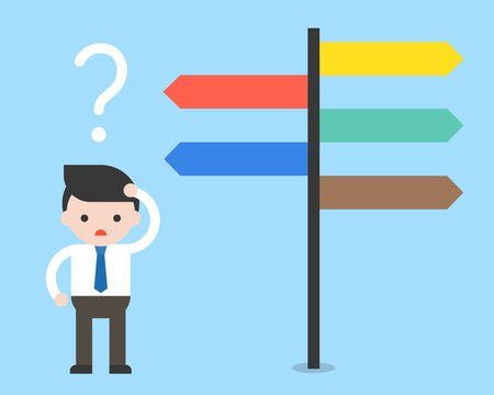 Businessman confused by direction signs. Choices and decision concept flat design