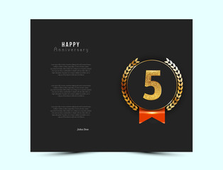 5th anniversary black card with gold and red elements. Vector illustration.