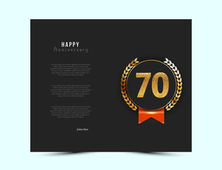 70th anniversary black card with gold and red elements. Vector illustration.