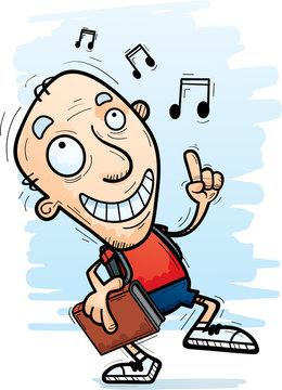 Cartoon Senior Citizen Student Dancing