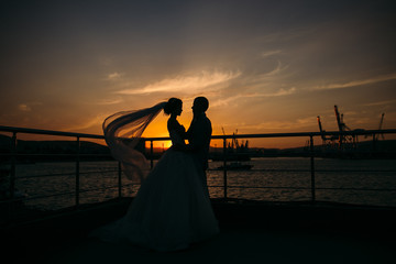 Silhouettes of bride and groom standing on night city background and tenderly looking at each other at sunset. Concept of love and family, newlyweds at wedding day. Marriage concept.