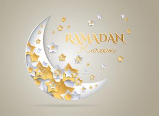 Ramadan Kareem golden background with beautiful moon and stars - vector