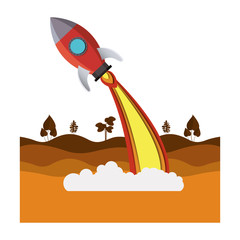 landscape scene with rocket flying vector illustration design