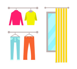 Clothing Store Changing Room Vector Illustration