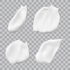 Vector realistic white cream smears isolated on transparent background