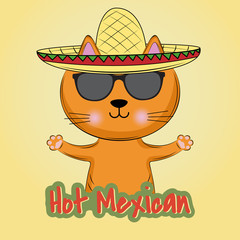 Cute cat in mexican style, in sombrero hat.