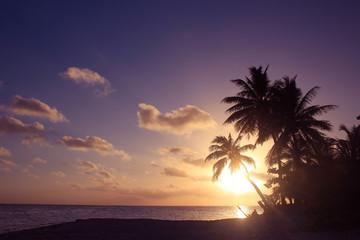 南の島のビーチで美しい夕日と夕焼け Beautiful Sunset in Tahiti paradise