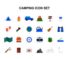 Color icons set. Camping pack. Vector illustration