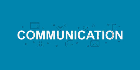 Communication vector banner. Word with line icon. Vector background
