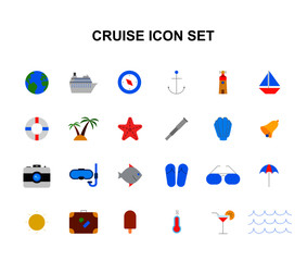 Color icons set. Cruise pack. Vector illustration