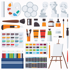 Vector flat set with fine artist stationery. Watercolor, tempera, easel, palette, color pencils, gypsum head and other accessories for art studio and drawing. Collection with artist supplies