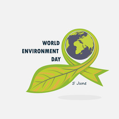 Globe and Leaf sign. World Environment day concept vector logo design template.June 5st World Environment day concept.World Environment day Awareness Idea Campaign.Vector illustration.