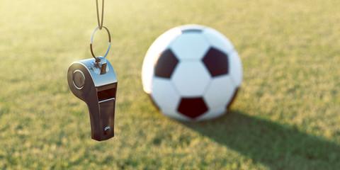 Trillerpfeife und Fußball
