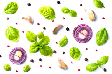 Fresh Basil leaves with garlic red onion on white background