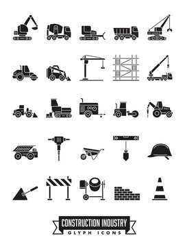 Construction industry glyph icon set
