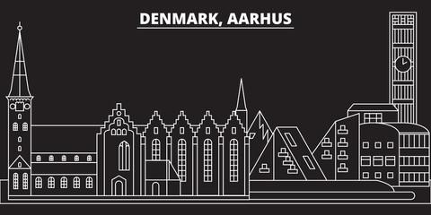 Aarhus silhouette skyline. Denmark - Aarhus vector city, danish linear architecture, buildings. Aarhus line travel illustration, landmarks. Denmark flat icon, danish outline design banner