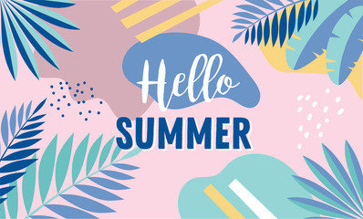 Hello Summer, banner design with vintage colors