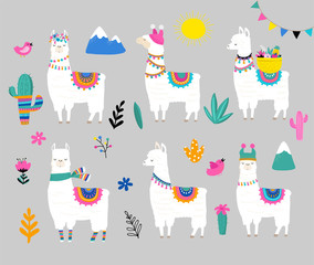 Llama collection, cute hand drawn illustration and design for nursery design, poster, greeting cards