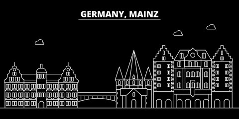 Mainz silhouette skyline. Germany - Mainz vector city, german linear architecture, buildings. Mainz line travel illustration, landmarks. Germany flat icon, german outline design banner