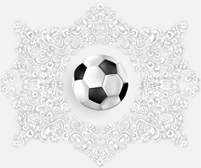 White football card with soccer ball.