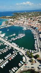 Canvas Prints Ship Aerial drone bird's eye view photo of picturesque port of Aigina island, Saronic Gulf, Greece