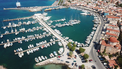 Aerial drone bird's eye view photo of picturesque port of Aigina island, Saronic Gulf, Greece