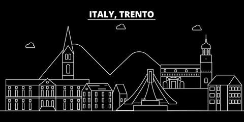 Trento silhouette skyline. Italy - Trento vector city, italian linear architecture, buildings. Trento line travel illustration, landmarks. Italy flat icon, italian outline design banner