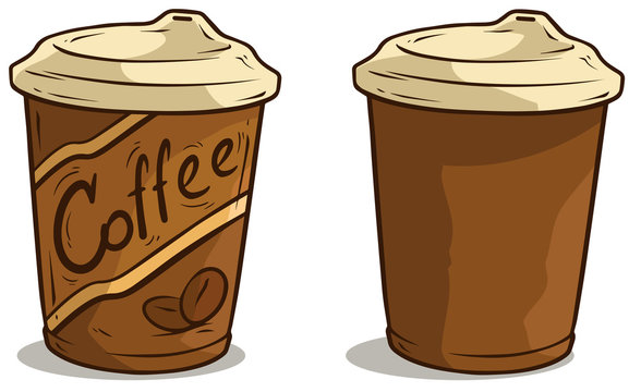 Cartoon coffee cup with lid vector icon