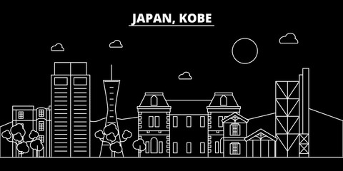 Kobe silhouette skyline. Japan - Kobe vector city, japanese linear architecture, buildings. Kobe line travel illustration, landmarks. Japan flat icon, japanese outline design banner
