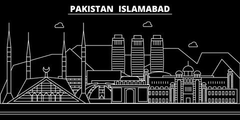 Islamabad silhouette skyline. Pakistan - Islamabad vector city, pakistani linear architecture, buildings. Islamabad line travel illustration, landmarks. Pakistan flat icon, pakistani outline design