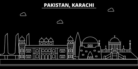 Karachi silhouette skyline. Pakistan - Karachi vector city, pakistani linear architecture, buildings. Karachi line travel illustration, landmarks. Pakistan flat icon, pakistani outline design banner Fototapete