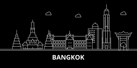Bangkok silhouette skyline. Thailand - Bangkok vector city, thai linear architecture, buildings. Bangkok line travel illustration, landmarks. Thailand flat icon, thai outline design banner