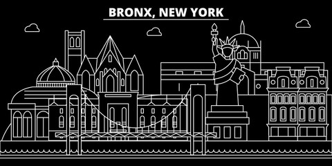 Bronx silhouette skyline. USA - Bronx vector city, american linear architecture, buildings. Bronx line travel illustration, landmarks. USA flat icons, american outline design banner