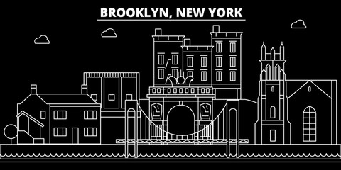Brooklyn silhouette skyline. USA - Brooklyn vector city, american linear architecture, buildings. Brooklyn line travel illustration, landmarks. USA flat icons, american outline design banner