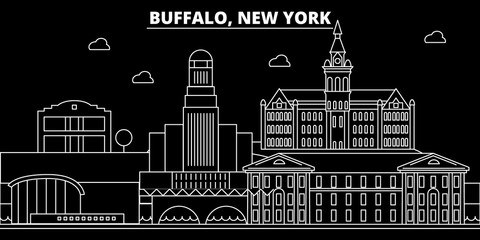 Buffalo silhouette skyline. USA - Buffalo vector city, american linear architecture, buildings. Buffalo line travel illustration, landmarks. USA flat icons, american outline design banner