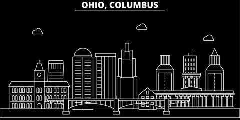 Columbus silhouette skyline. USA - Columbus vector city, american linear architecture, buildings. Columbus line travel illustration, landmarks. USA flat icons, american outline design banner