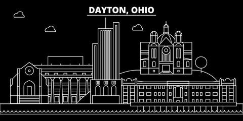 Dayton silhouette skyline. USA - Dayton vector city, american linear architecture, buildings. Dayton line travel illustration, landmarks. USA flat icons, american outline design banner