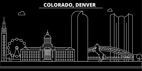Denver silhouette skyline. USA - Denver vector city, american linear architecture, buildings. Denver line travel illustration, landmarks. USA flat icons, american outline design banner