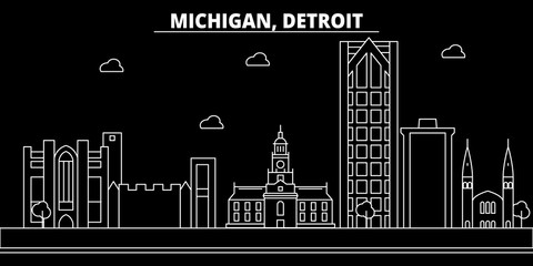 Detroit silhouette skyline. USA - Detroit vector city, american linear architecture, buildings. Detroit line travel illustration, landmarks. USA flat icons, american outline design banner