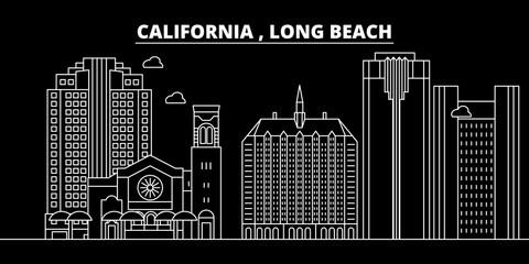 Long Beach silhouette skyline. USA - Long Beach vector city, american linear architecture, buildings. Long Beach line travel illustration, landmarks. USA flat icons, american outline design banner