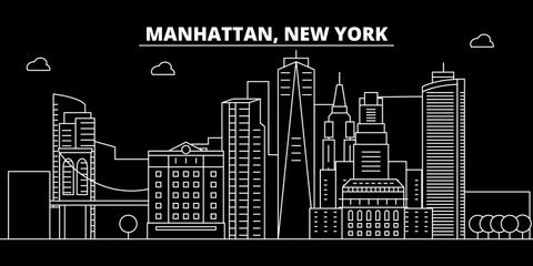 Manhattan silhouette skyline. USA - Manhattan vector city, american linear architecture, buildings. Manhattan line travel illustration, landmarks. USA flat icons, american outline design banner