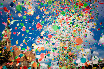 Printed roller blinds Carnaval confetti falling during a festival or carnival in the city