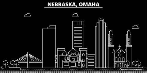 Omaha silhouette skyline. USA - Omaha vector city, american linear architecture, buildings. Omaha line travel illustration, landmarks. USA flat icons, american outline design banner